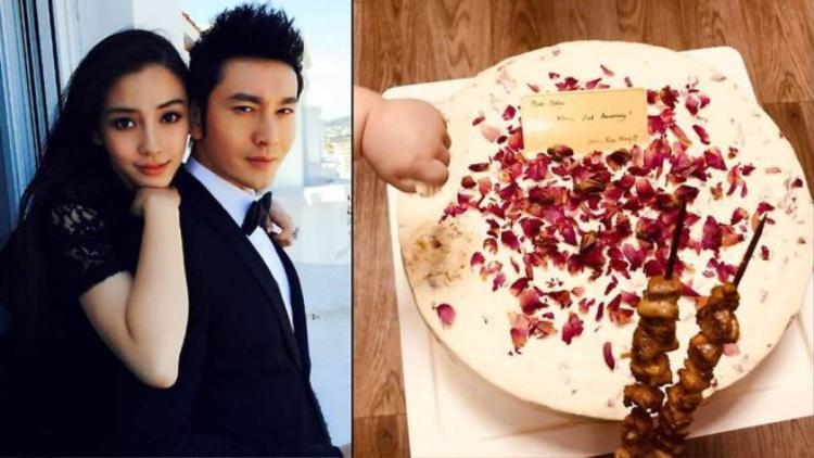 """Kỷ niệm 2 năm ngày cưới, Huỳnh Hiểu Minh đăng ảnh thịt xiên nướng cùng và chiếc bánh gato với dòng tin nhắn lãng mạn: """"Gửi Baby, mừng kỷ niệm 2 năm! Yêu em, Hiểu Minh""""."""