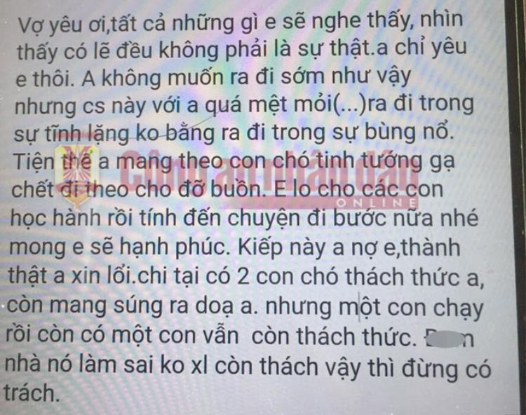 Tin nhắn được cho là của Chu Văn Khoa gửi cho vợ. Ảnh: báo CAND.