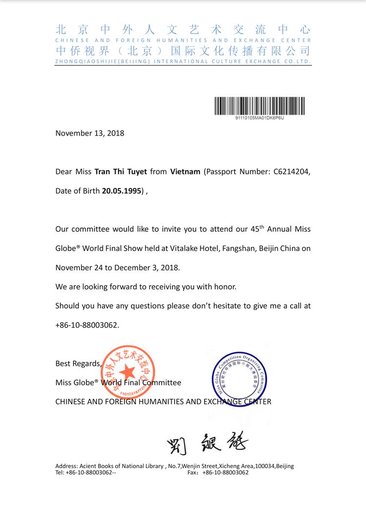 Thư mời của tổ chức Miss Globe 2018 gửi đến Tuyết Trần.