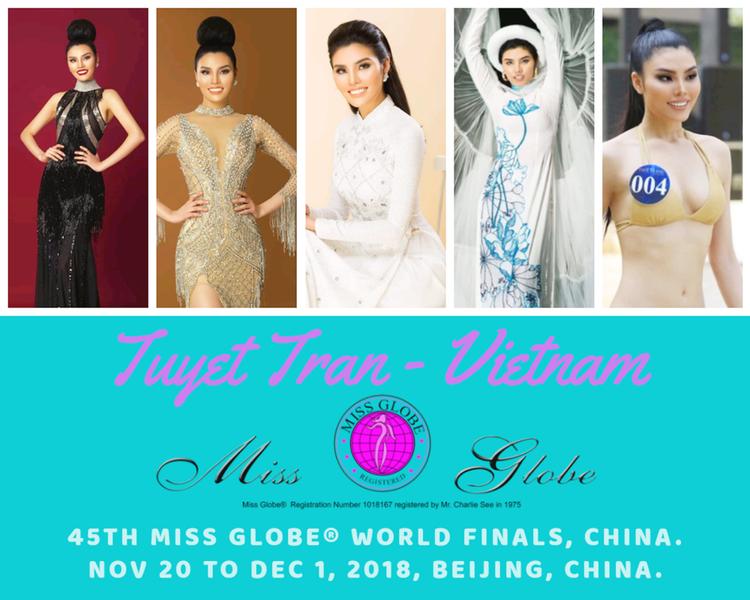 Thí sinh Siêu mẫu Việt Nam  Tuyết Trần tham dự Miss Globe 2018 tại Trung Quốc