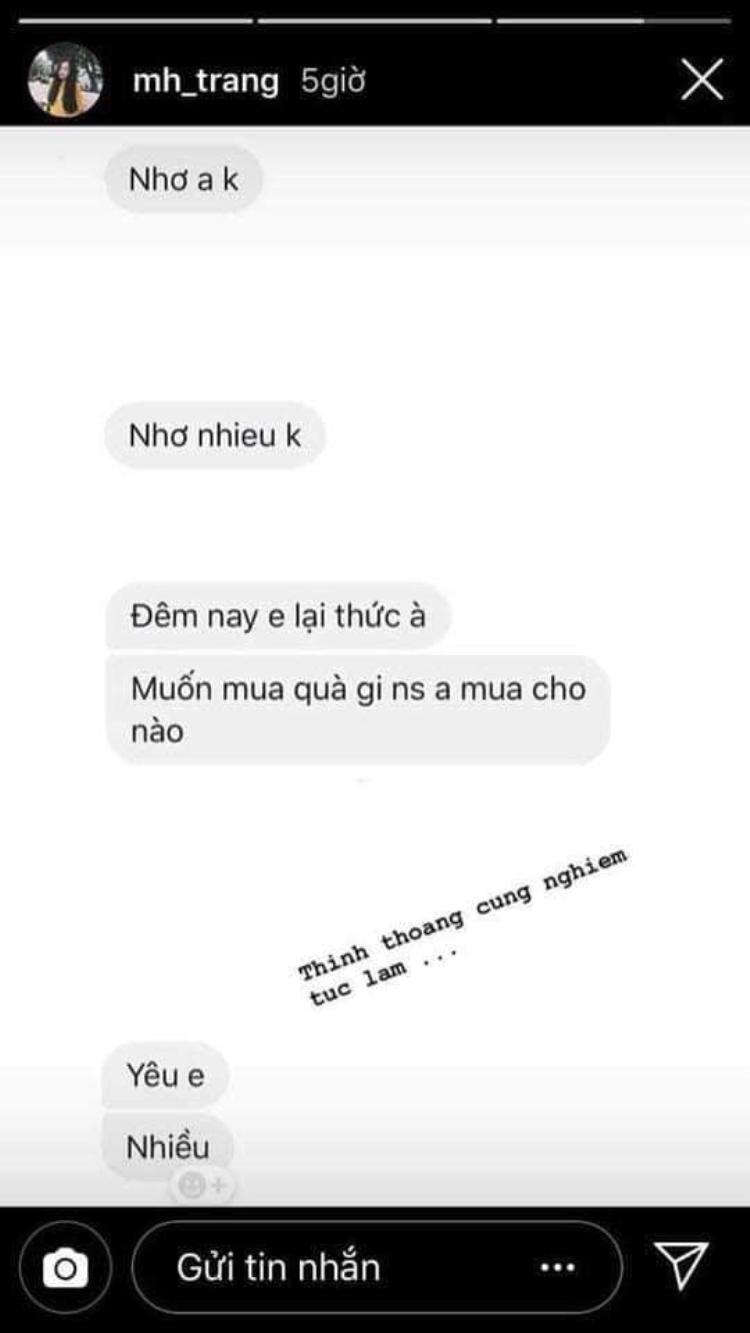 Cặp đôi Trang - Chinh bị nghi ngờ đã nhắn rất nhiều tin mũi mẫn với nhau!