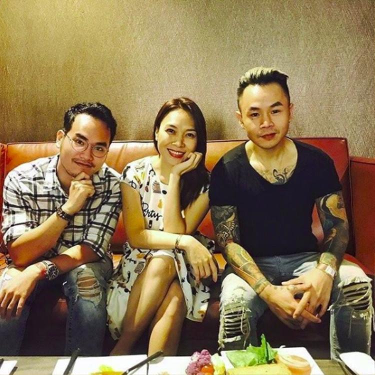 Mỹ Tâm cùng nhạc sĩ Khắc Hưng và rapper Binz.