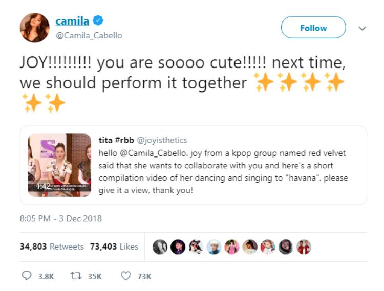 Tin được không: Camila Cabello vừa chủ động mời gọiJoy (Red Velvet)hát chung siêu hit 2018Havana