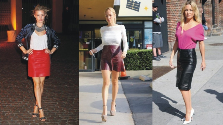 Chân váy da giúp bộ trang phục trông quyến rũ hơn với độ bóng của vải dễ dàng kết hợp với các dạng áo sơ mi hay áo phông