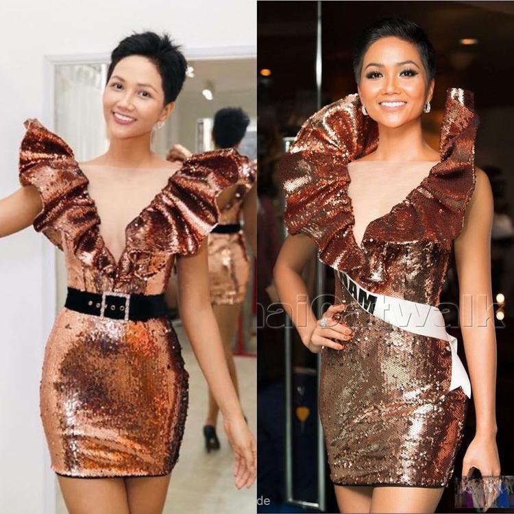 Thiết kế với chất liệu sequin bắt sáng cùng phần cổ 3D ấn tượng giúp H'Hen Niê tạo điểm nhấn giữa 95 người đẹp. Tuy nhiên outfit lần này lại khác xa với lần trước. Cô đã lượt bỏ chiếc thắt lưng.