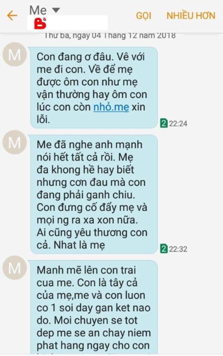 Những dòng tin nhắn mẹ gửi con trai.
