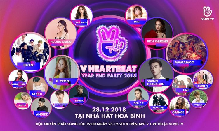 Noo Phước Thịnh, Vũ Cát Tường và Soobin Hoàng Sơn cùng góp mặt trong một hạng mục đề cử giải thưởng của V HeartBeat Year End Party 2018