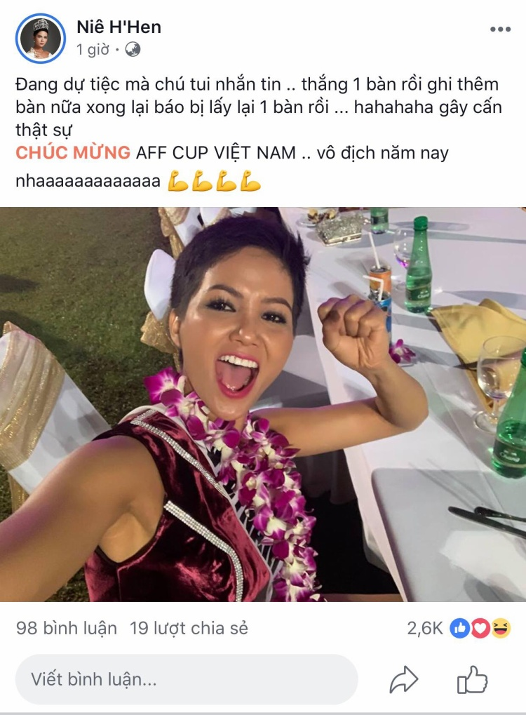 Dù đang bận rộn với lịch trình dày đặc ở Miss Universe, nhưng Hoa hậu Hoàn vũ Việt Nam vẫn không quên chia vui cùng người hâm mộ trước chiến thắng của đội tuyển U23 Việt Nam.