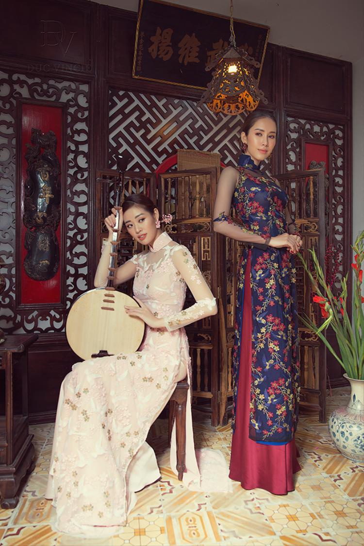 Khánh Vân - Phan Thu Quyên hóa nàng Thúy Kiều - Thúy Vân trong bộ ảnh áo dài đầy duyên dáng.