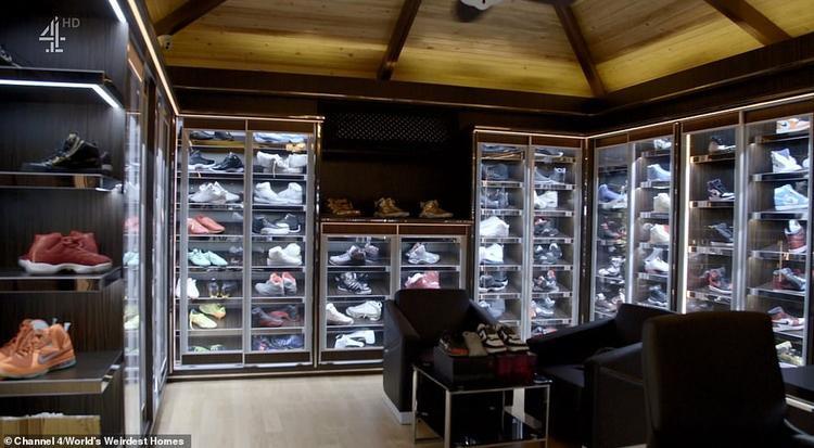 Phòng chứa giày của tỷ phú tuổi teen. Ảnh: Channel 4