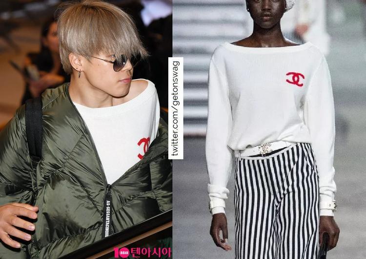 Mới đây là Jimin (BTS) mặc áo Chanel ra sân bay