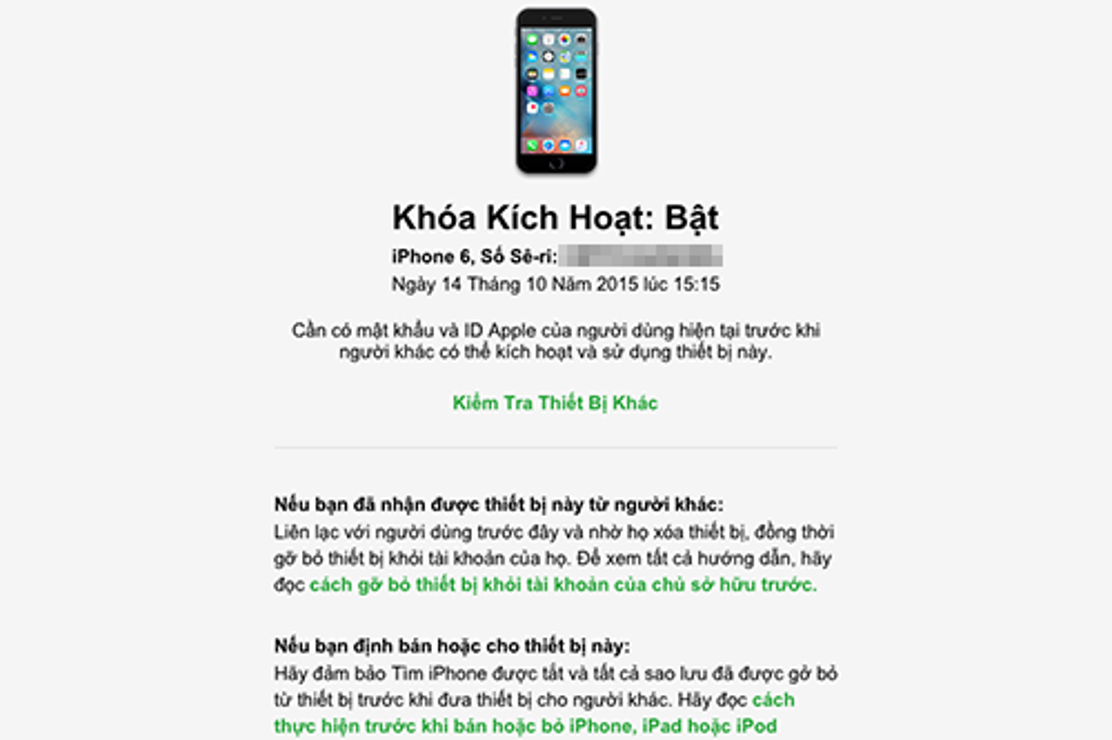 Trong hình kiểm tra, chiếc iPhone 6 đã đăng nhập iCloud và đang kích hoạt Find My iPhone.