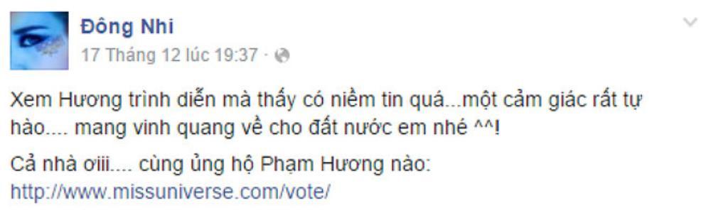 Status kêu gọi bình chọn của Đông Nhi trên Fanpage.