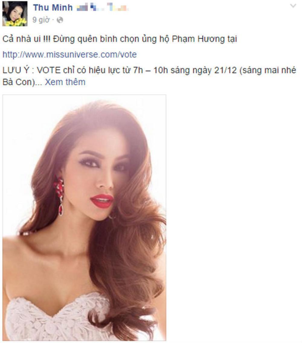 Fanpage của Thu Minh đăng tải cách thức bình chọn cho đại diện Việt Nam.