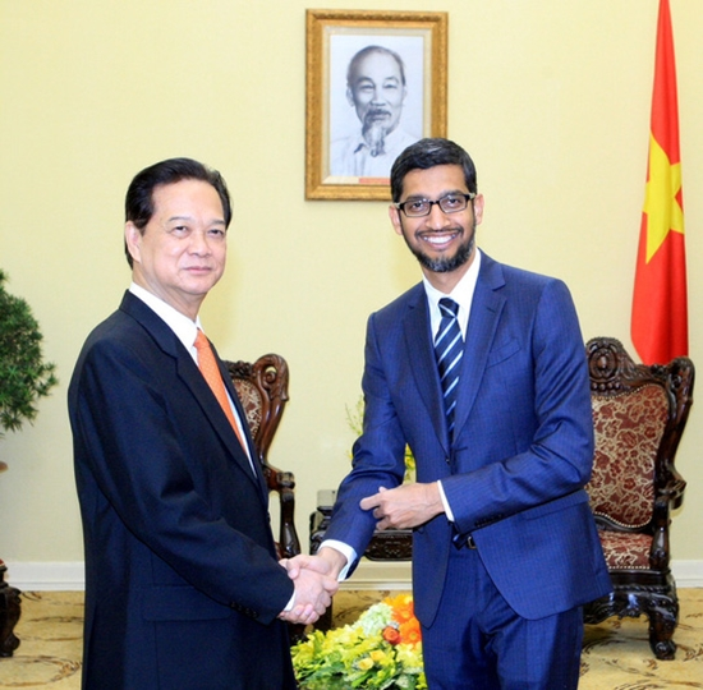 Ngày 22/12/2015, tại Trụ sở Chính phủ, Thủ tướng Nguyễn Tấn Dũng đã tiếp Tổng giám đốc điều hành Google Sundar Pichai.Ảnh: TTXVN