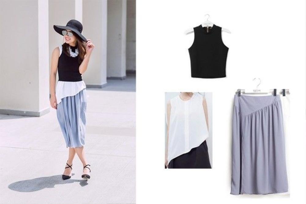 Cả set bao gồm áo đen crop top mặc bên ngoài áo blouse trắng tạo layer vận cùng váy xám.