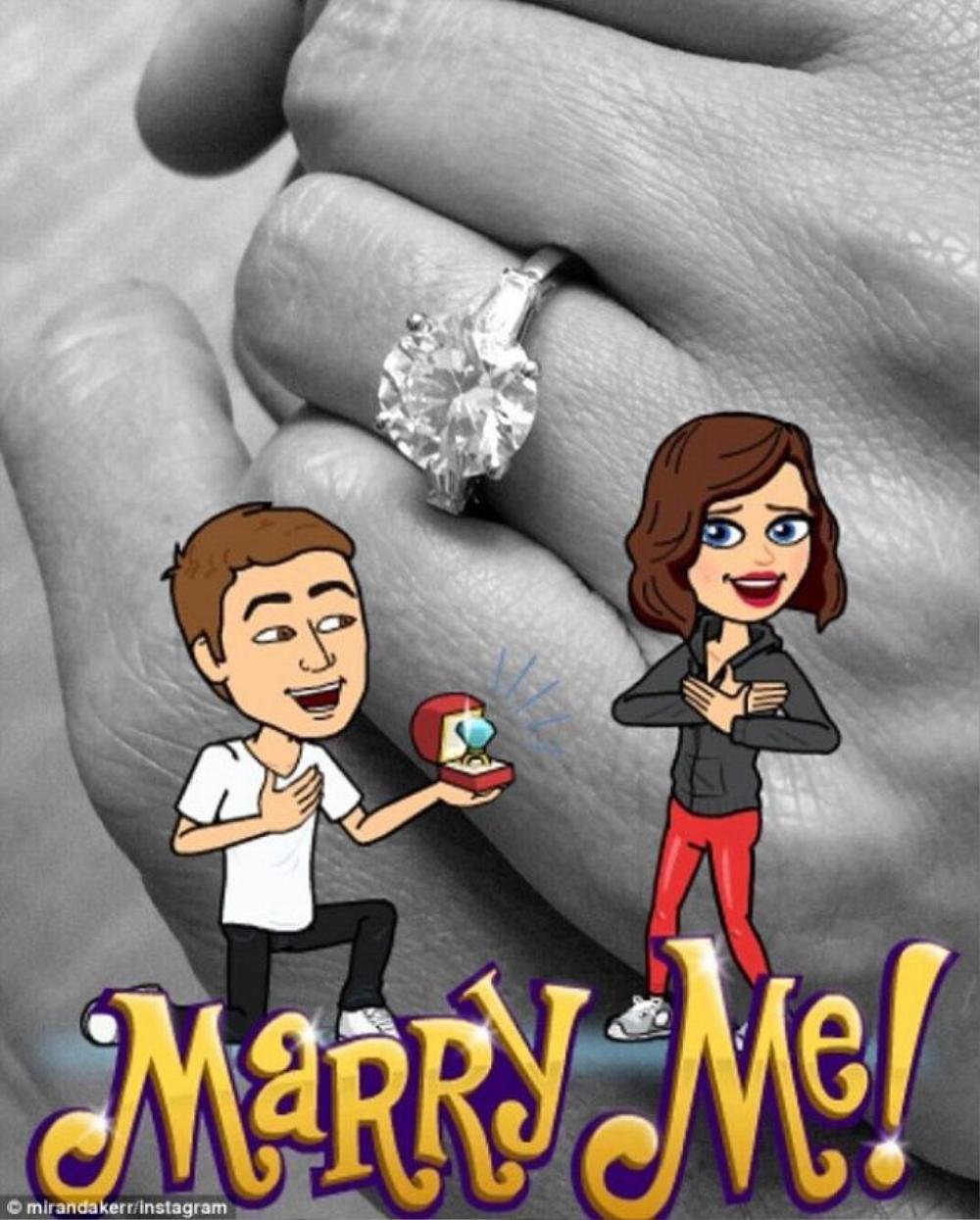 Ảnh do Miranda Kerr chia sẻ và lời thú nhận đồng ý kết hôn.