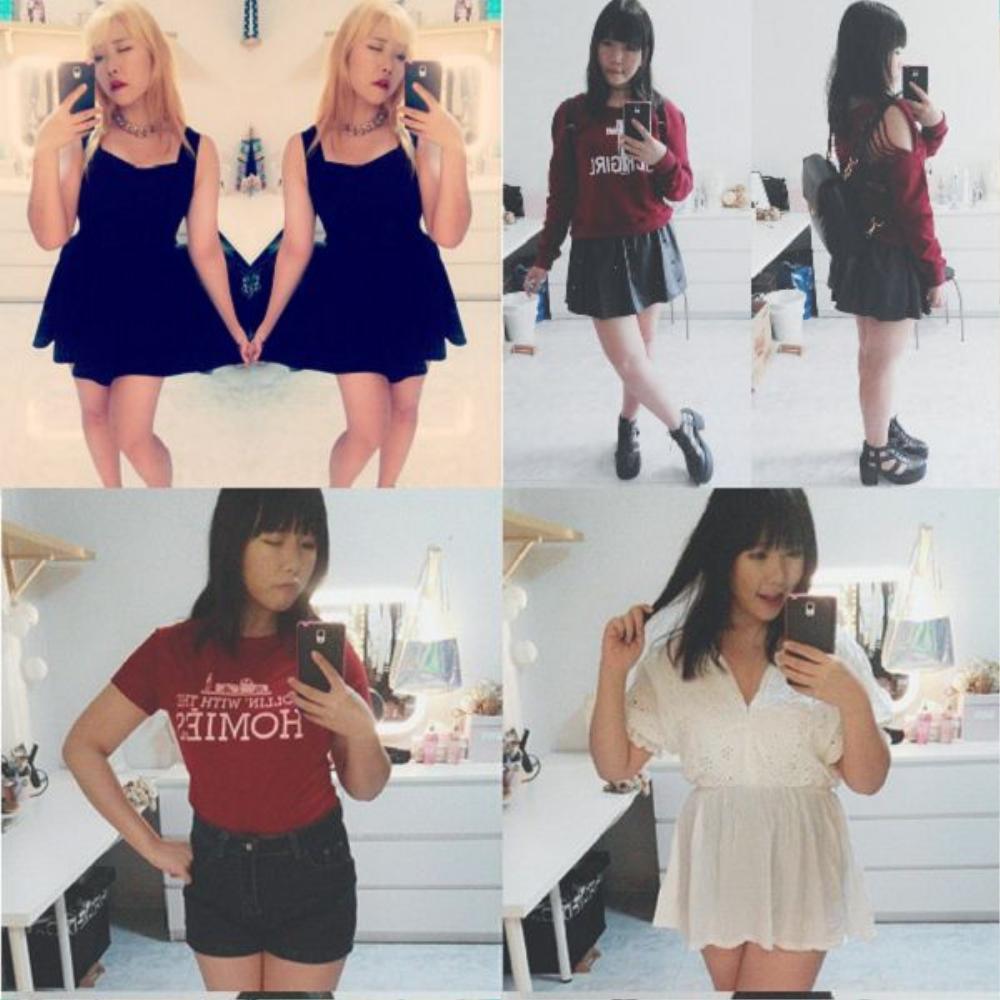 Váy xòe là bí kíp giúp nàng béo che đi khuyết điểm vóc dáng, dù đi theo phong cách dễ thương hay trưởng thành, Miyuki đều biết cách trang điểm để mình trở nên cuốn hút. Để thân hình trở nên gọn hơn, cô nàng chọn các trang phục mang màu tối giản (đen, đỏ, trắng), thiết kể không rườm rà.