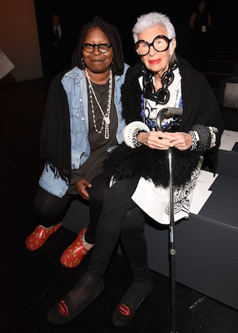 NEW YORK, NY - SEPTEMBER 15: Actress Whoopi Goldberg and Iris Apfel attend Carmen Marc Valvo Women's and Men's Collection S/S 2016 during New York Fashion Week: The Shows at The Arc, Skylight at Moynihan Station on September 15, 2015 in New York City. (Photo by Vivien Killilea/Getty Images for Carmen Marc Valvo)