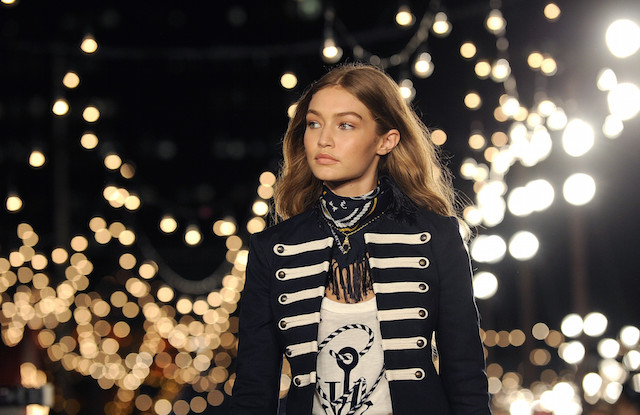 Gigi Hadid models the Tommy Hilfiger Fall 2016 collection and her TommyXGigi capsule during Fashion Week in New York, Friday, Sept. 9, 2016. (AP Photo/Diane Bondareff)