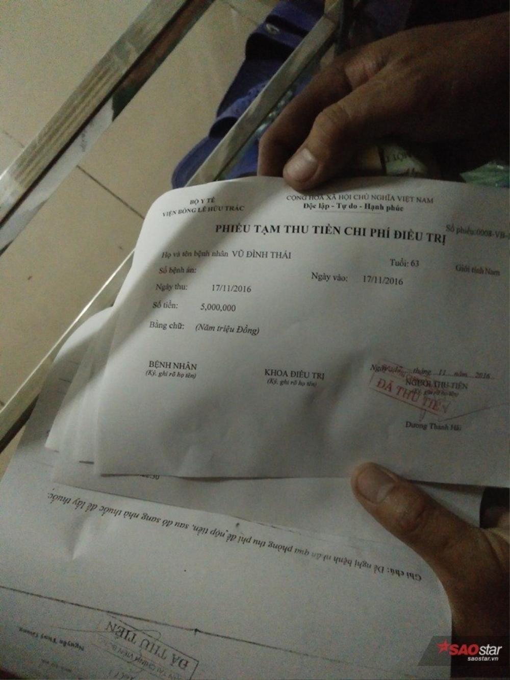 Phiếu thu tiền của cặp vợ chồng bị bỏng nặng.