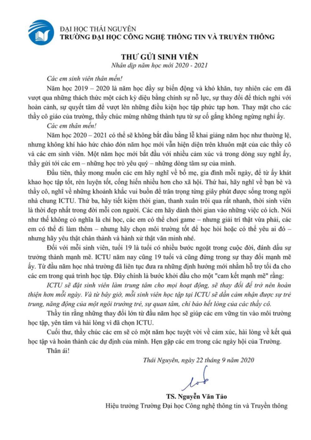 Sinh viên Thái Nguyên được phen khoái chí khi đọc bức thư của thầy Hiệu trưởng: 'Các em có thể chơi game hoặc yêu ai đó...' Ảnh 2