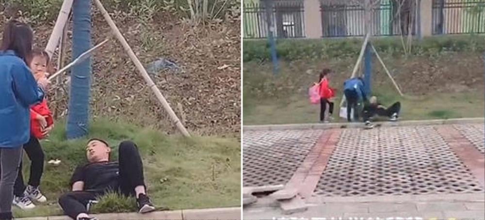 Tới trường đón con gái tan học, ông bố 'nhỡ' say giấc nồng ngoài bãi cỏ, cô giáo gọi kiểu gì cũng không tỉnh Ảnh 1