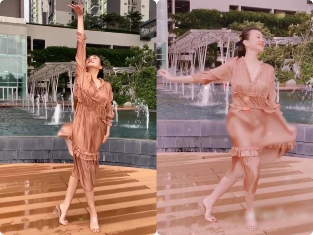 Bài học xương máu khi mặc váy lụa: Midu, hotgirl Trâm Anh bị hằn rõ 'vùng cấm địa' kém duyên Ảnh 1