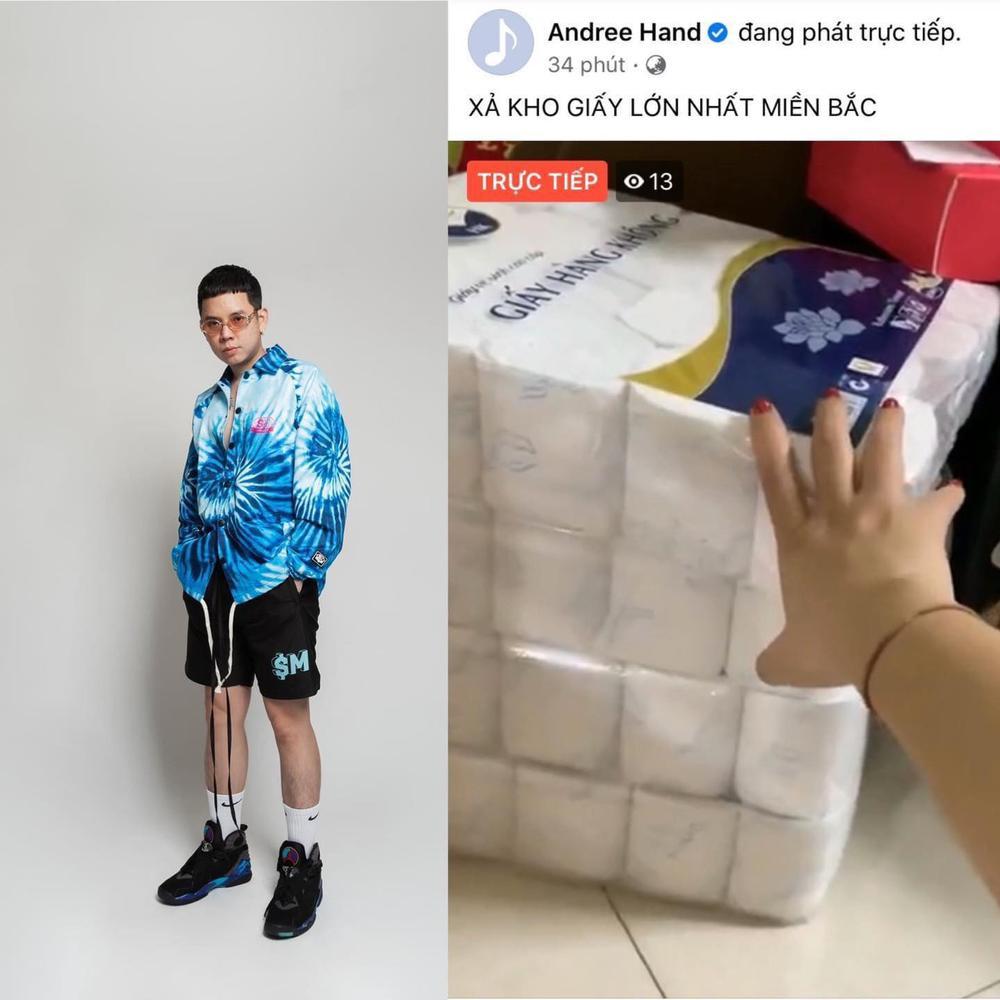 Rapper Andree bất ngờ livestream bán giấy vệ sinh? Ảnh 1