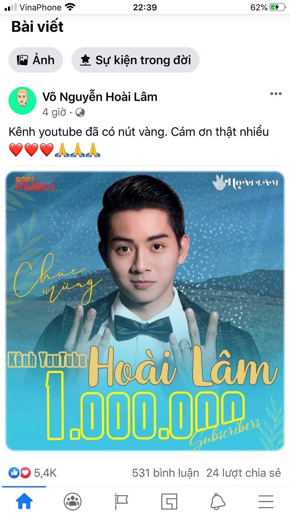 Kênh Youtube của Hoài Lâm cán mốc 1 triệu lượt đăng ký, Lê Hiếu - Xuân Nghị vào chúc mừng Ảnh 2
