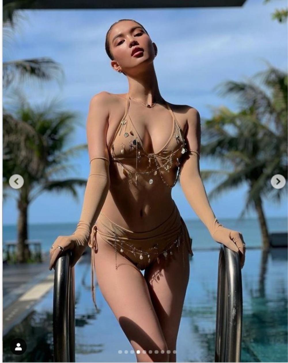 'Xỉu lên xỉu xuống' vì Ngọc Trinh khoe vòng 3 căng đét trong bộ bikini màu da tí hon Ảnh 4
