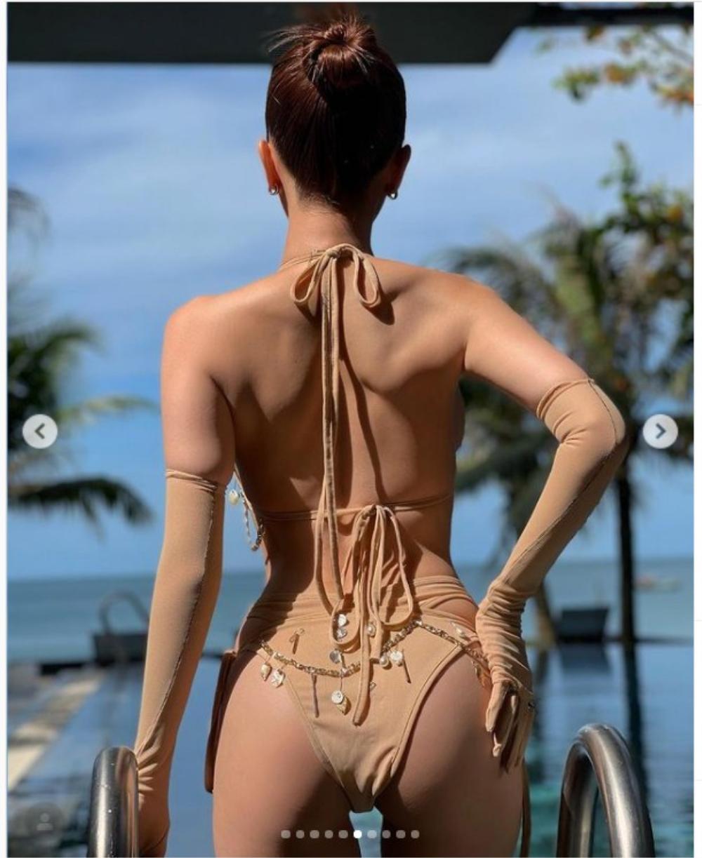 'Xỉu lên xỉu xuống' vì Ngọc Trinh khoe vòng 3 căng đét trong bộ bikini màu da tí hon Ảnh 5