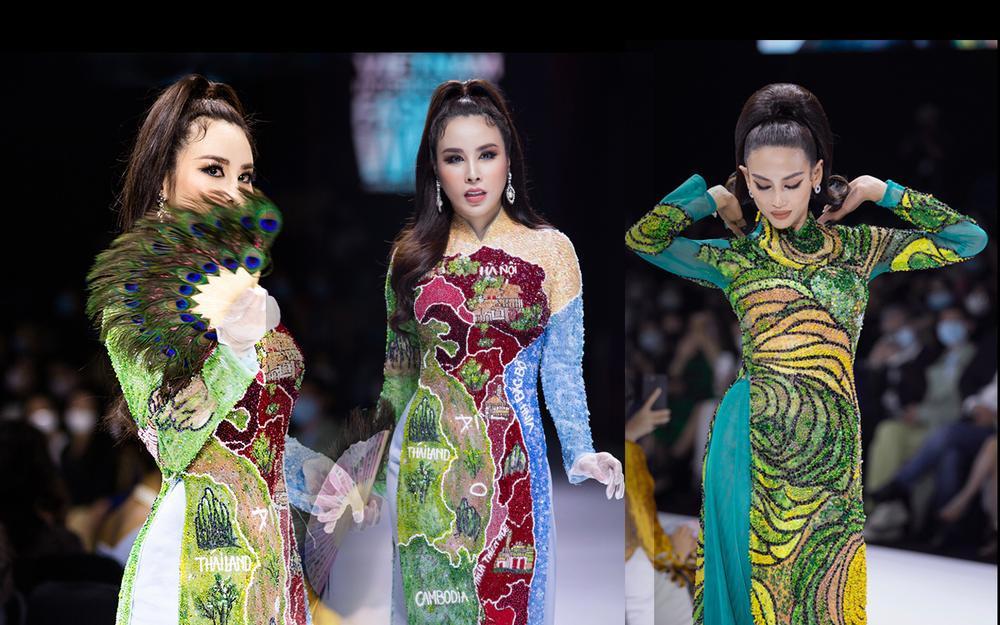 Áo dài đính kết bản đồ Việt Nam cao quý và sang trọng trên sàn diễn thời trang Ảnh 2