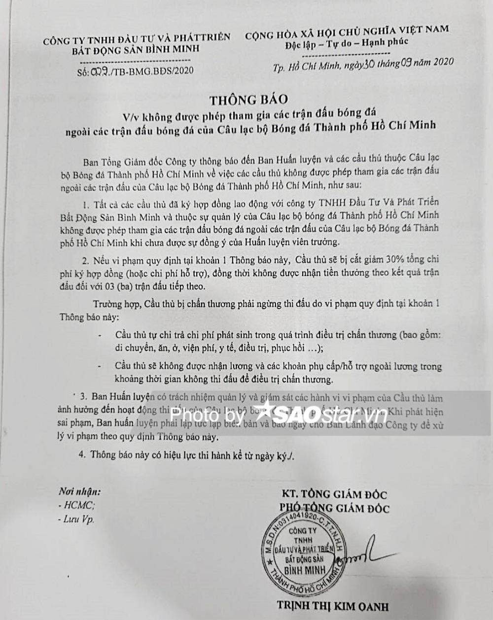 Đội trưởng CLB TPHCM mất tiền tỷ vì đá phủi: Xử mạnh tay vì sự chuyên nghiệp! Ảnh 1