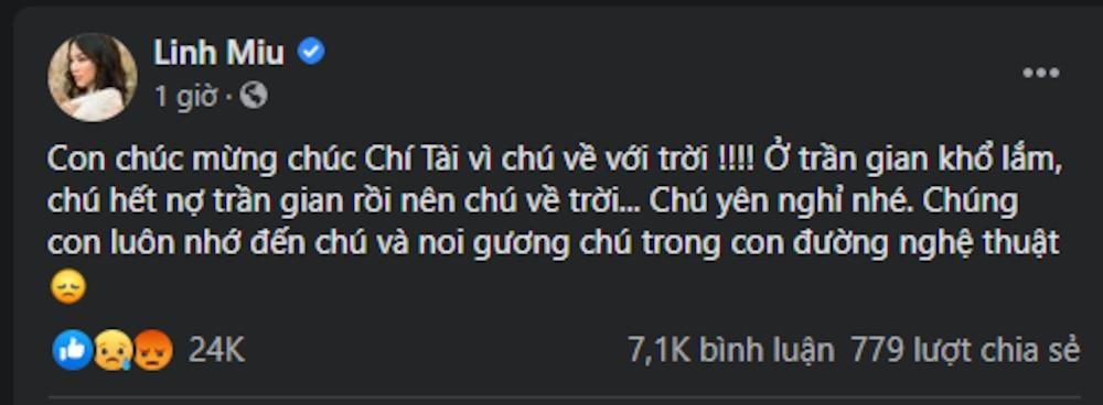 Cộng đồng mạng kêu gọi tẩy chay hotgirl Linh Miu vì status phản cảm trước sự ra đi của nghệ sĩ Chí Tài Ảnh 1