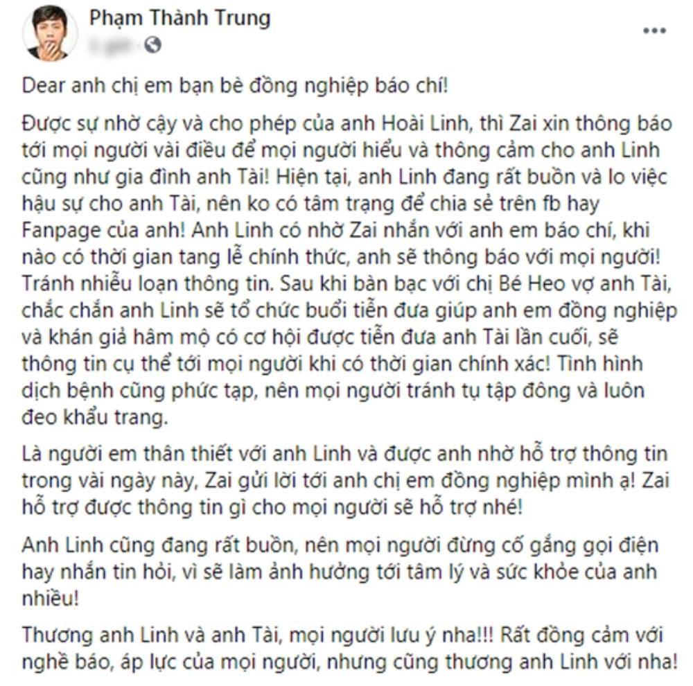 NSƯT Hoài Linh đau buồn, chính thức có chia sẻ đầu tiên về tang lễ của cố nghệ sĩ Chí Tài Ảnh 1