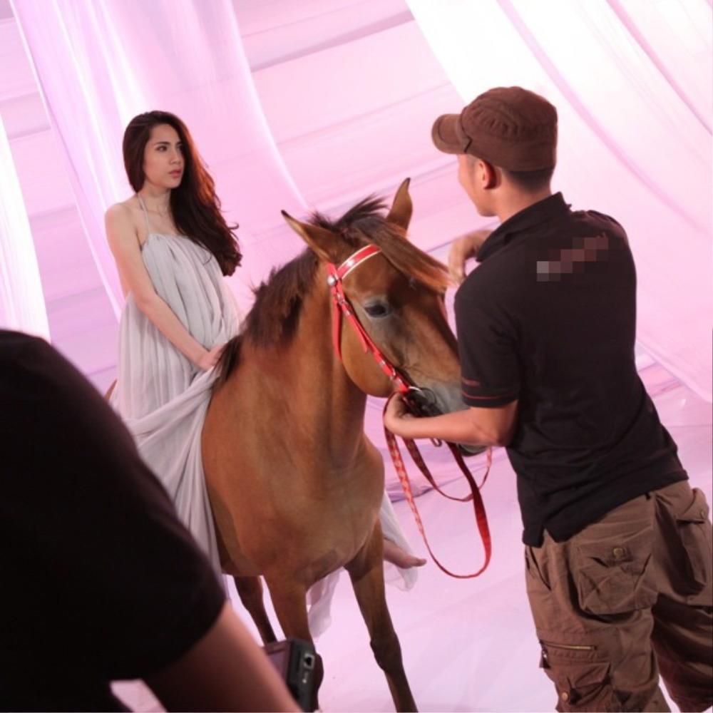 Sao Việt chụp ảnh cùng ngựa: Ngọc Trinh, Hoàng Thùy thần thái, Thủy Tiên lộ rõ vẻ thất thần Ảnh 12