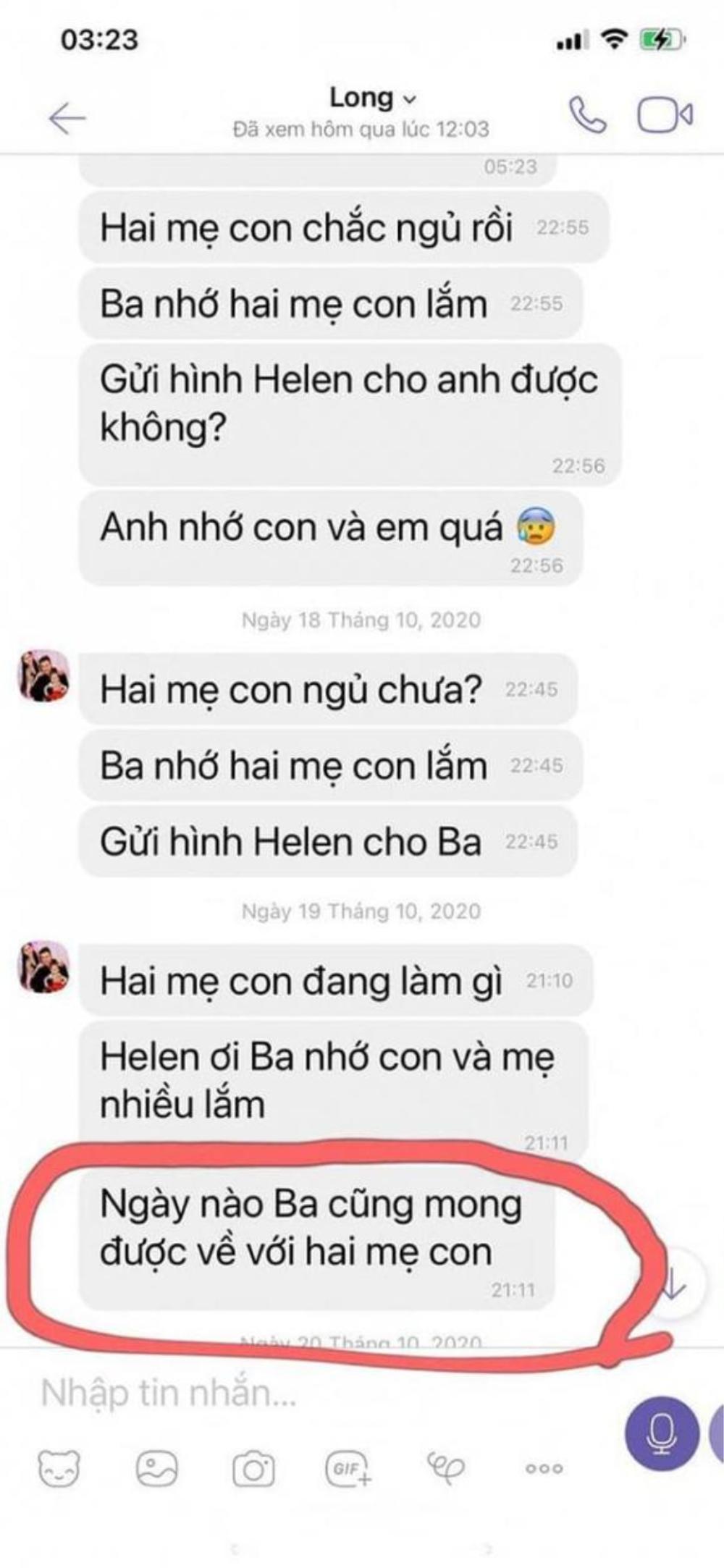 Hé lộ tin nhắn chứng minh khi sinh thời Vân Quang Long rất yêu thương vợ và con gái Ảnh 5