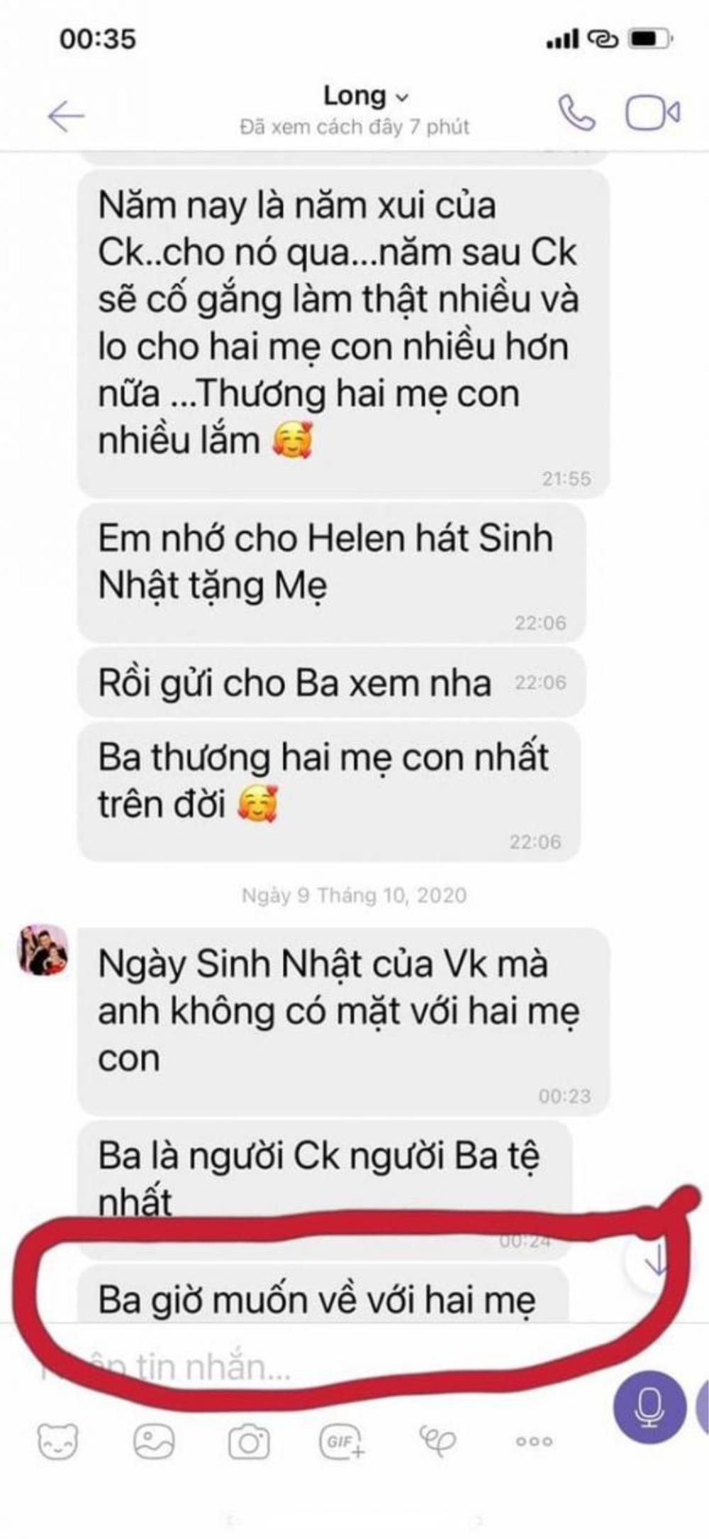Hé lộ tin nhắn chứng minh khi sinh thời Vân Quang Long rất yêu thương vợ và con gái Ảnh 4