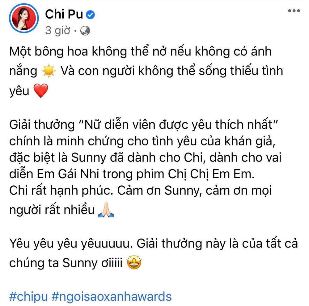 Chi Pu nhận giải Ngôi sao xanh, fan khuyên nên làm diễn viên đừng làm ca sĩ Ảnh 1