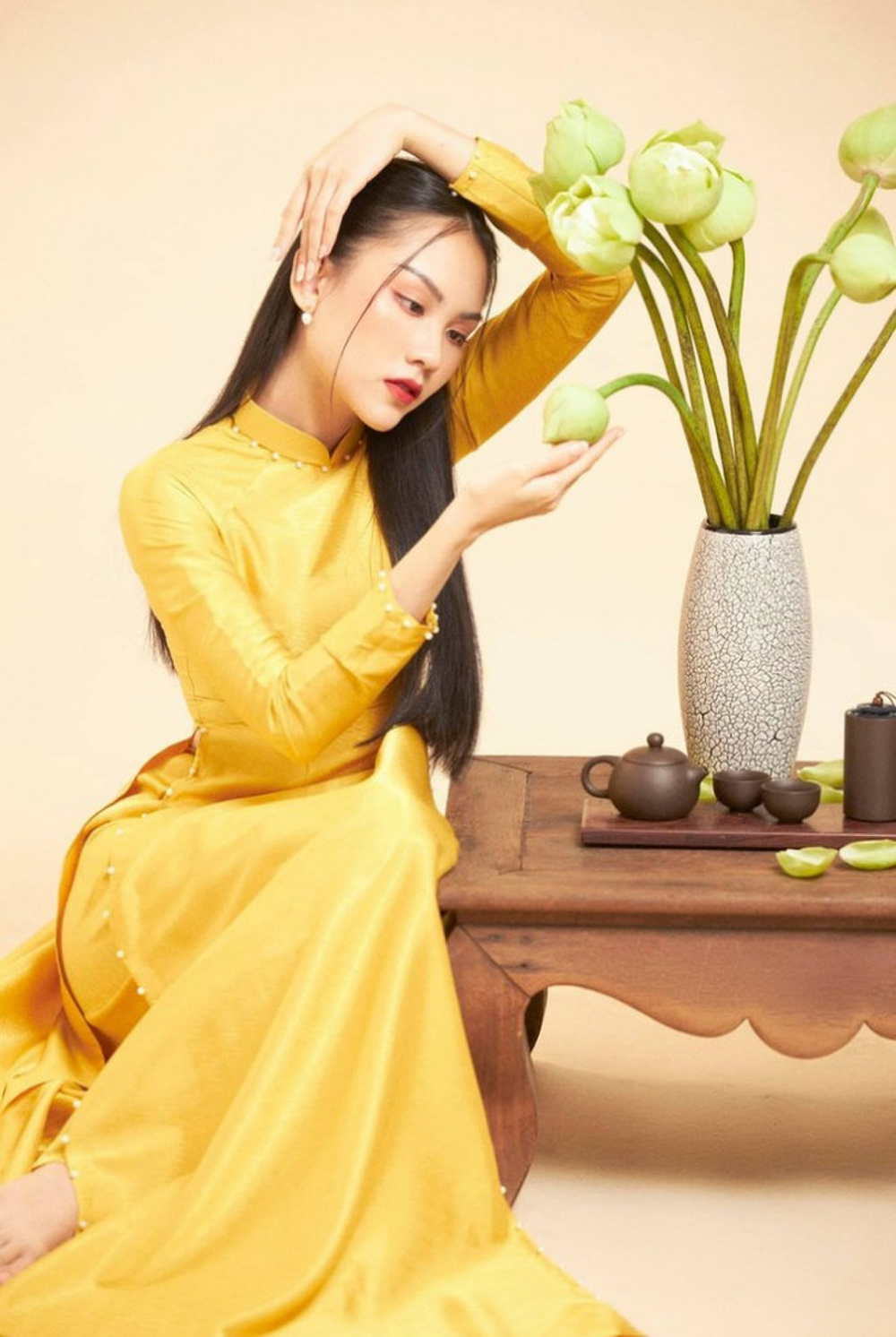 Đỗ Mỹ Linh, Tiểu Vy, Hà Tăng diện áo dài ngọt ngào, gợi ý xu hướng Tết 2021 Ảnh 2