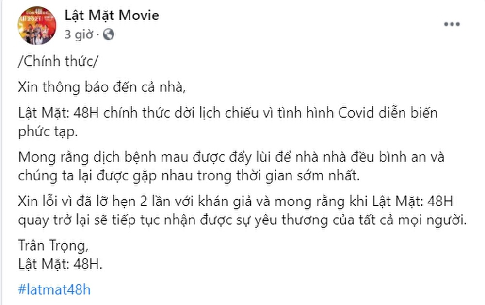 Chính thức: Phim Tết 2021 của Trấn Thành, Lý Hải, Ngô Thanh Vân huỷ chiếu vì COVID-19 Ảnh 2