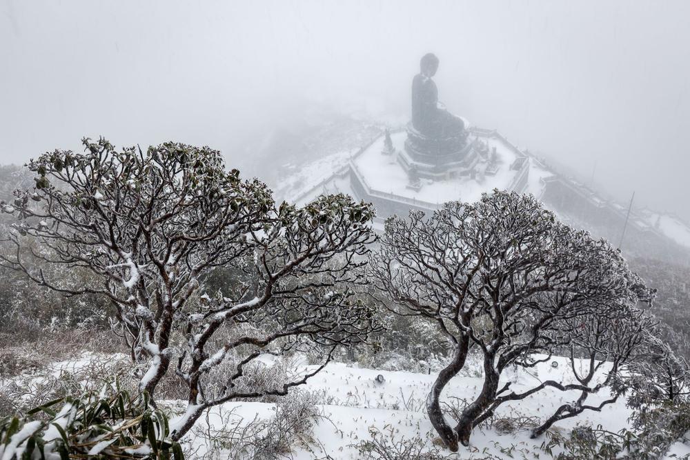 Trận mưa tuyết hiếm gặp xuất hiện trên đỉnh Fansipan Ảnh 9