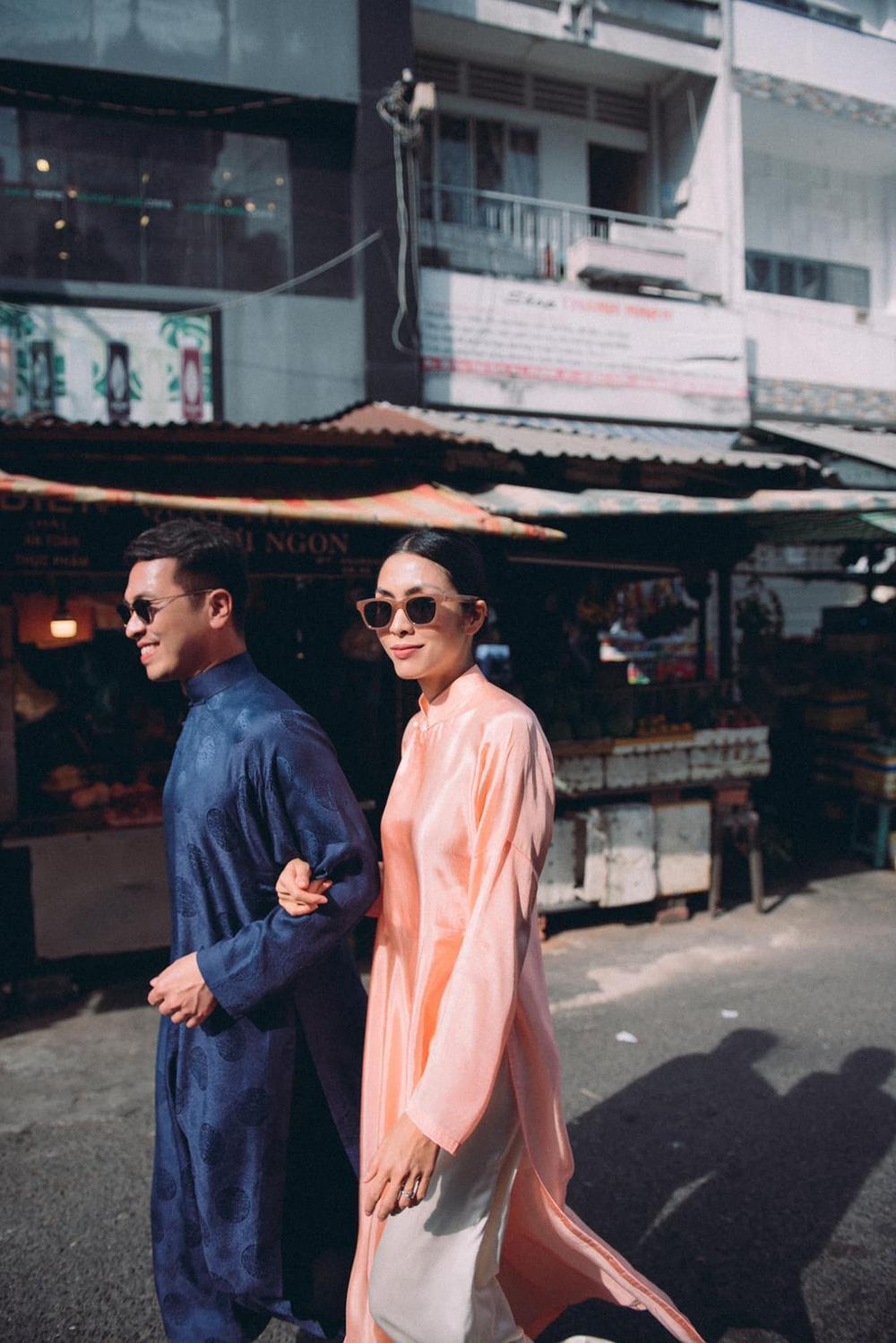 Tăng Thanh Hà tung tăng cùng bạn thân diện áo dài đi chợ sáng sau Tết Ảnh 5