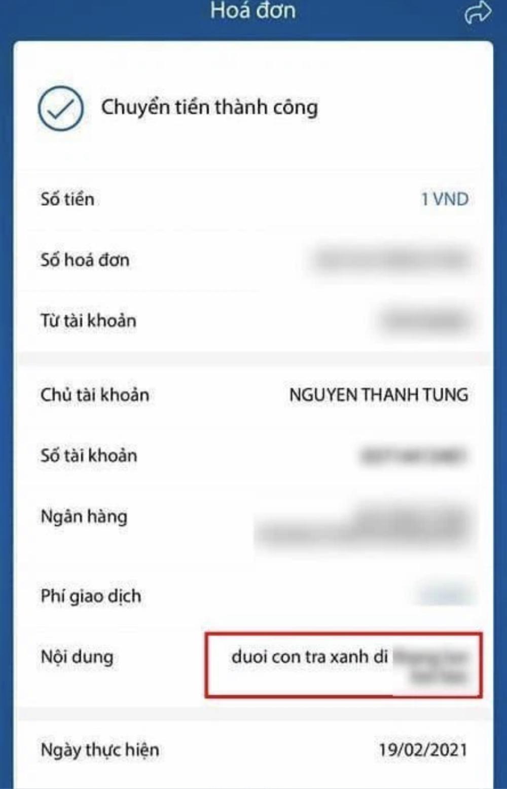 Vô tình để lộ số tài khoản ngân hàng, Sơn Tùng bị anti-fan lì xì kèm lời nhắn 'dở khóc dở cười' Ảnh 3