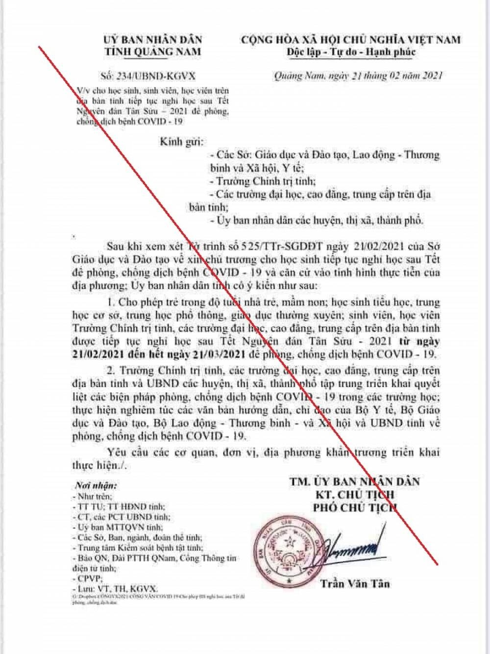 Quảng Nam: Một học sinh THCS làm giả văn bản cho nghỉ học thêm 1 tháng để phòng dịch Ảnh 2