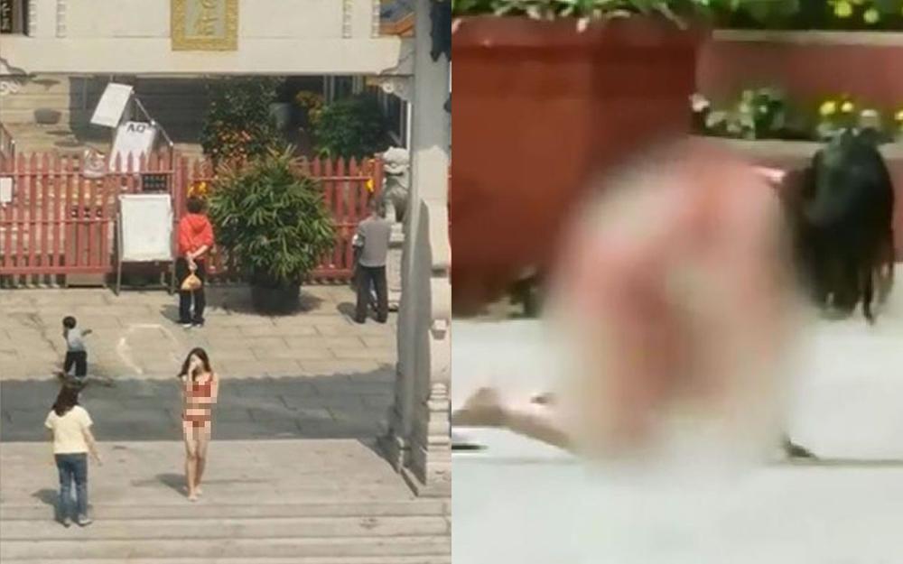 Clip: Cô gái mặc độc nội y đứng vái lạy trong chùa gây bão MXH Ảnh 1