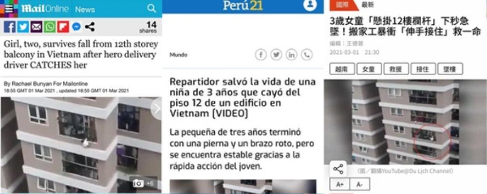 Vụ bé gái 3 tuổi rơi xuống từ tầng 12 được cứu sống lên báo nước ngoài: 'Đúng là một phép màu thực sự' Ảnh 1