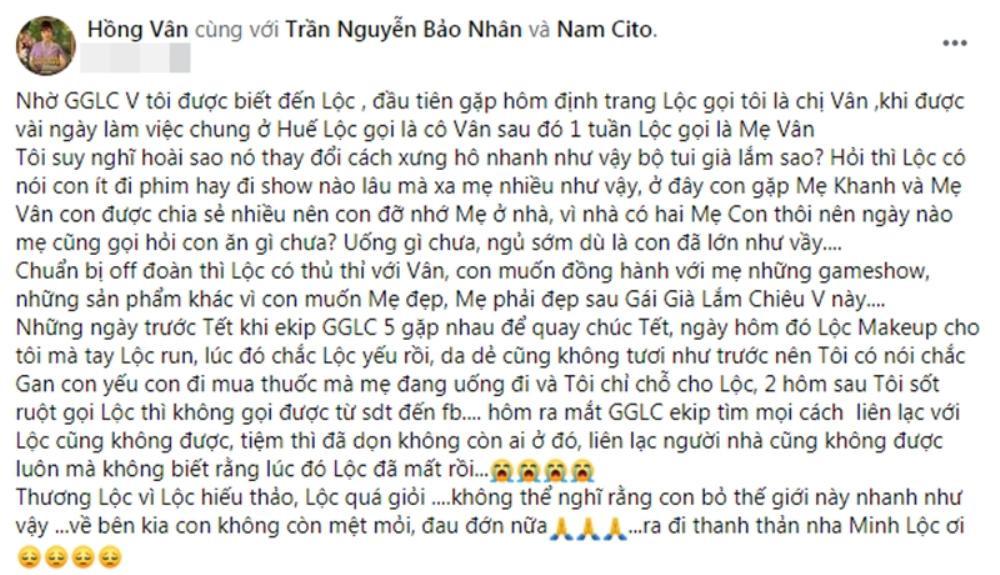 NSND Hồng Vân: 'Phan Minh Lộc hiếu thảo và quá giỏi, không liên lạc được mà không biết cậu ấy mất rồi' Ảnh 2