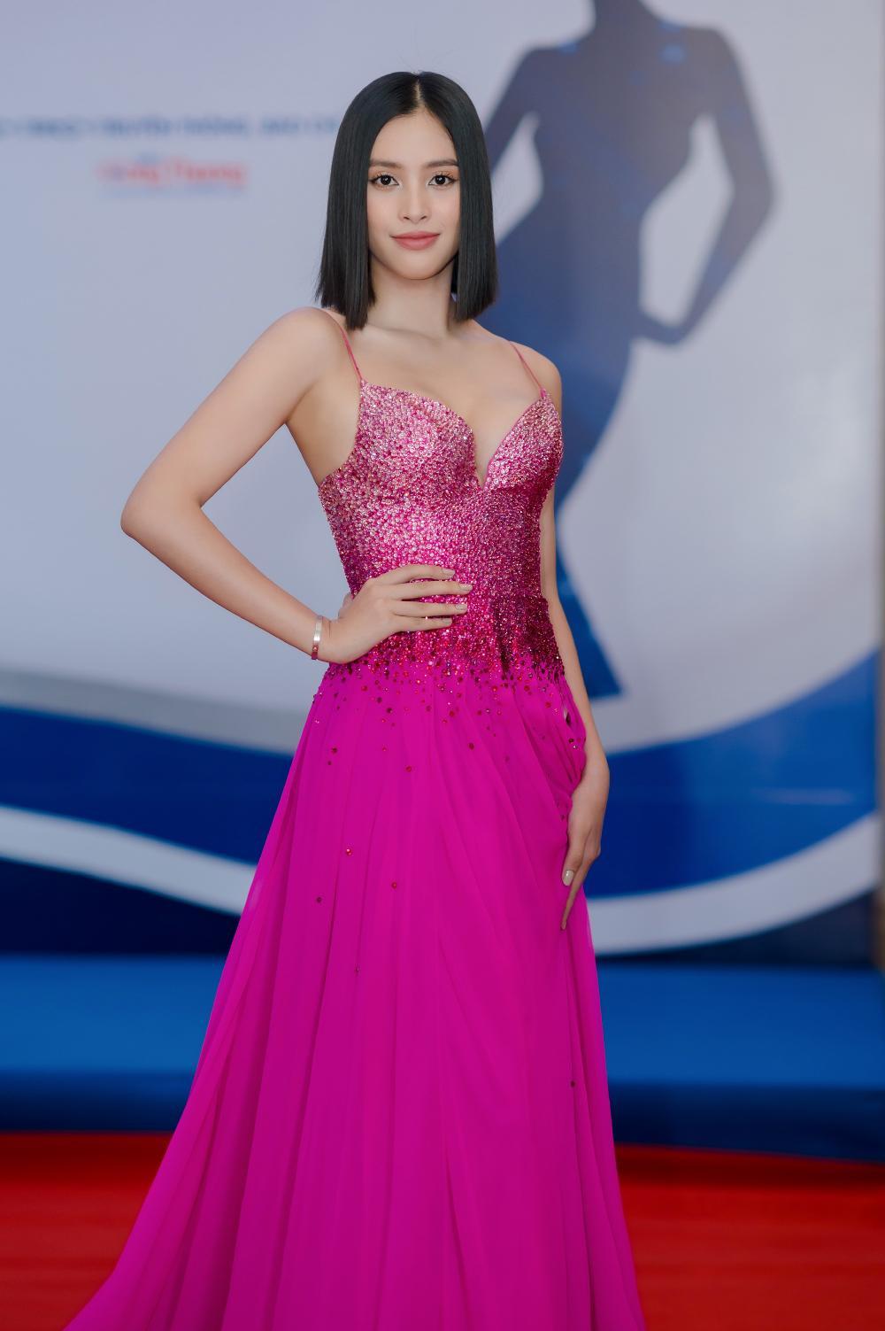Hoa hậu Tiểu Vy khoe vòng 1 căng tràn trong bộ váy hồng cánh sen xẻ sâu Ảnh 2